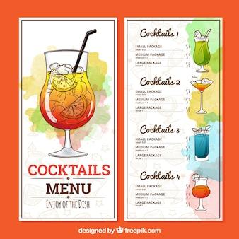Hand getrokken cocktail menusjabloon