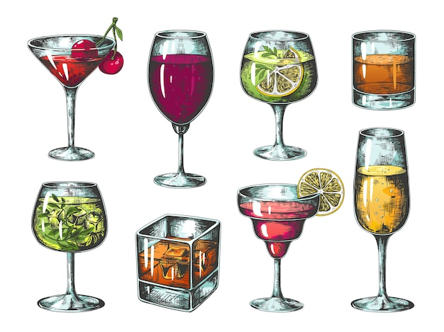 Hand getrokken cocktails illustratie