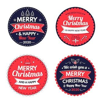 Hand getrokken collectie kerst badge
