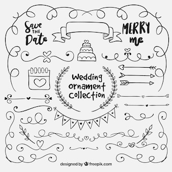 Hand getrokken collectio van het huwelijksornament