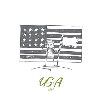 Hand getrokken concept schets van het amerikaanse leger