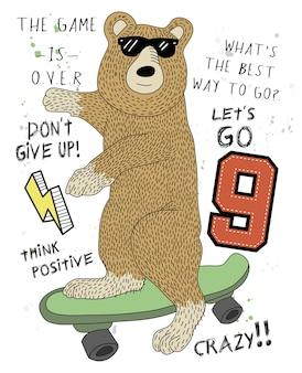 Hand getrokken cool bear vector ontwerp voor t-shirt afdrukken