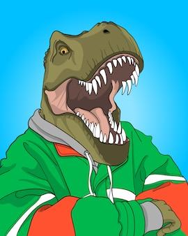 Hand getrokken cool dinosaurus illustratie