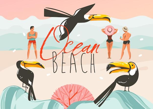 Hand getrokken coon zomertijd illustraties kunst sjabloon achtergrond met oceaan strand landschap, roze zonsondergang, toekanvogels en groep mensen met ocean beach typografie