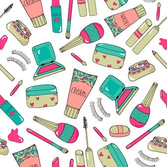 Hand getrokken cosmetica make-up tools naadloos patroon
