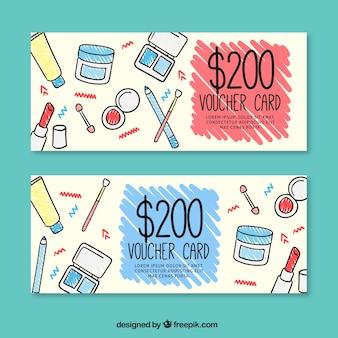 Hand getrokken cosmeticaproducten discount banners