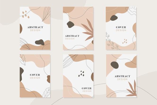 Hand getrokken cover set met abstracte vormen