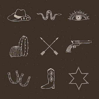 Hand getrokken cowboy logo vector set