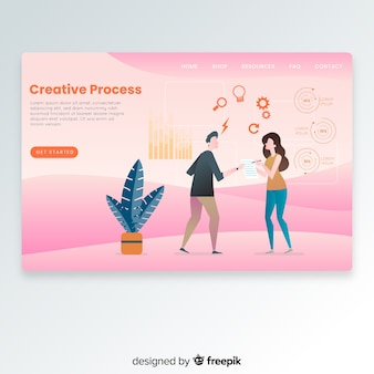Hand getrokken creatieve proces bestemmingspagina
