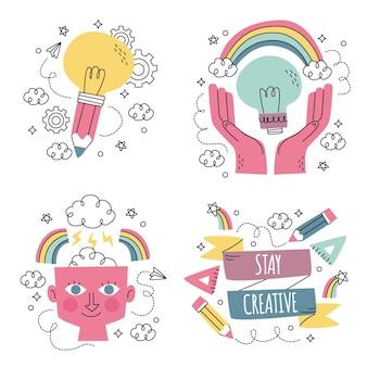 Hand getrokken creativiteit stickers collectie