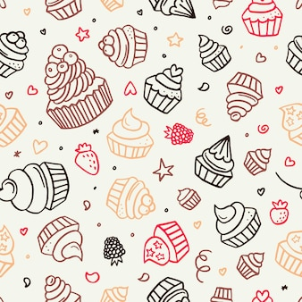 Hand getrokken cupcake doodle naadloze achtergrondpatroon