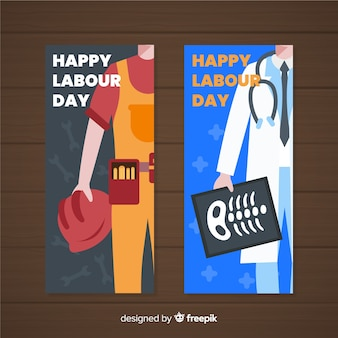 Hand getrokken dag van de arbeid banners