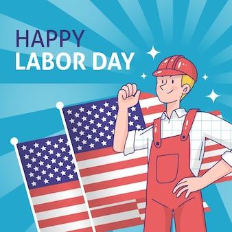 Hand getrokken dag van de arbeid met man en vlag achtergrond