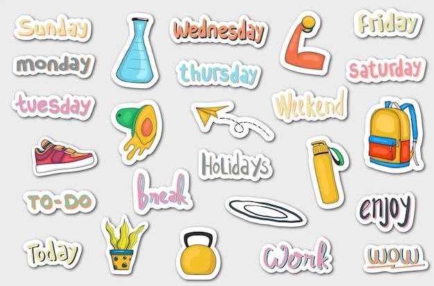 Hand getrokken dagelijkse stickers planner