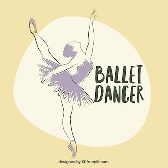 Hand getrokken dancer in paarse kleur