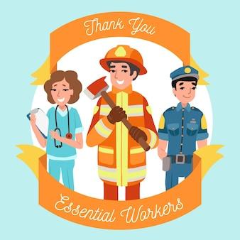 Hand getrokken dank u essentiële werknemers