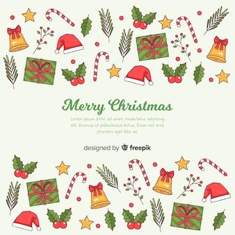 Hand getrokken decoratie kerstmis achtergrond