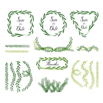 Hand getrokken decoratie van bladeren en natuurlijke elementen