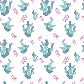 Hand getrokken decoratief naadloos patroon met cactussen. in scandinavische stijl. trendy tropisch ontwerp voor textiel
