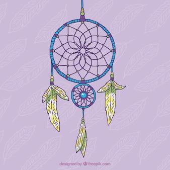 Hand getrokken decoratieve dromenvanger op een paarse achtergrond