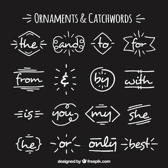 Hand getrokken decoratieve elementen en steekwoorden
