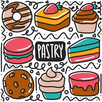 Hand getrokken dessert gebak doodle set met pictogrammen en ontwerpelementen
