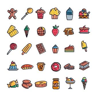 Hand getrokken dessert pictogrammen