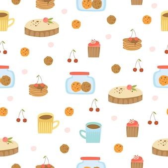 Hand getrokken desserts patroon