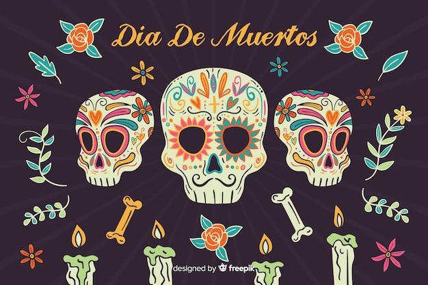 Hand getrokken día de muertos met maffia schedels achtergrond