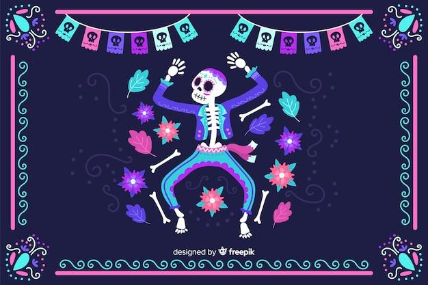 Hand getrokken día de muertos neon skelet dansende achtergrond