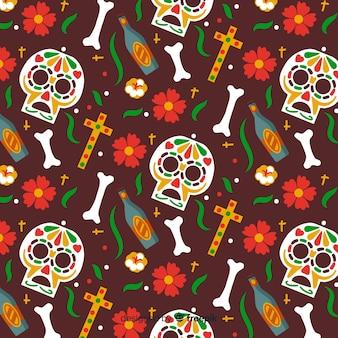 Hand getrokken día de muertos patroon bruine achtergrond