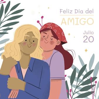 Hand getrokken dia del amigo - 20 juli illustratie