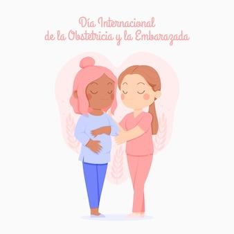 Hand getrokken dia internacional de la obstetricia y la embarazada illustratie