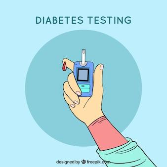 Hand getrokken diabetes testen van bloed samenstelling
