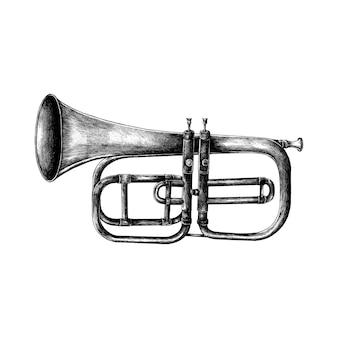 Hand getrokken die trompet op witte achtergrond wordt geïsoleerd