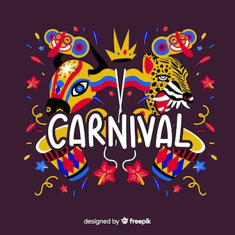 Hand getrokken dieren carnaval achtergrond