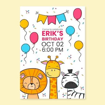 Hand getrokken dieren verjaardagsuitnodiging