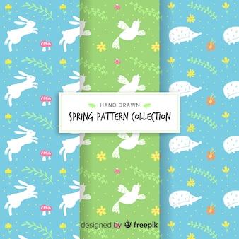 Hand getrokken dierlijke lente patrooninzameling