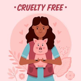 Hand getrokken dierproefvrije en veganistische illustratie