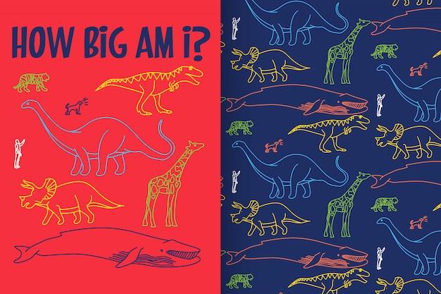 Hand getrokken dinosaurus met patroon vector set