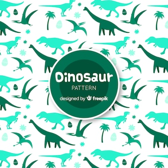 Hand getrokken dinosaurus silhouetten patroon