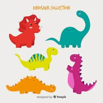 Hand getrokken dinosaurusinzameling