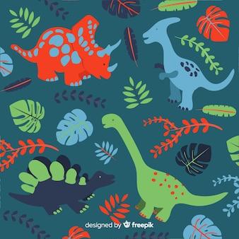 Hand getrokken dinosauruspatroon