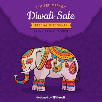 Hand getrokken diwali verkoop en indische olifant