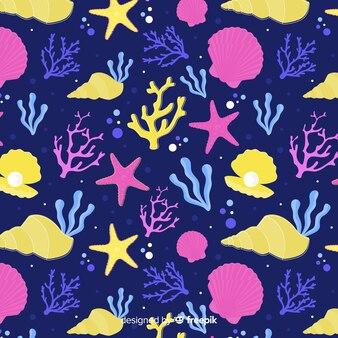Hand getrokken donker koraalpatroon