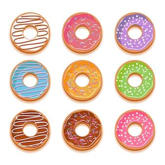 Hand getrokken donut collectie