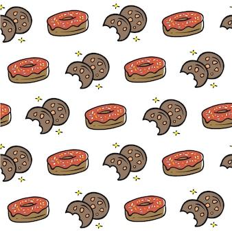 Hand getrokken donut koekje naadloze patroon