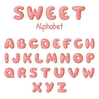 Hand getrokken donut letters.