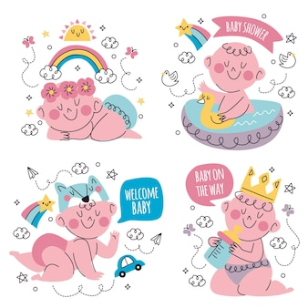 Hand getrokken doodle baby shower sticker collectie