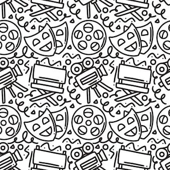 Hand getrokken doodle bioscoopshow met pictogrammen en ontwerpelementen